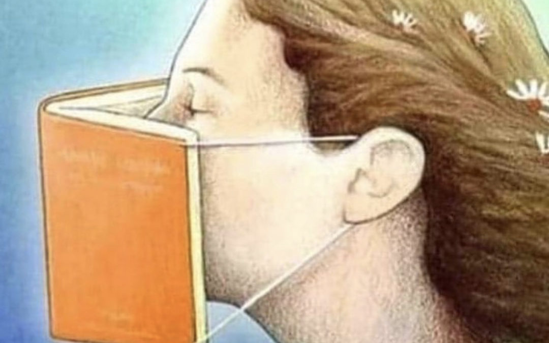 Woman Wearing A Book Mask